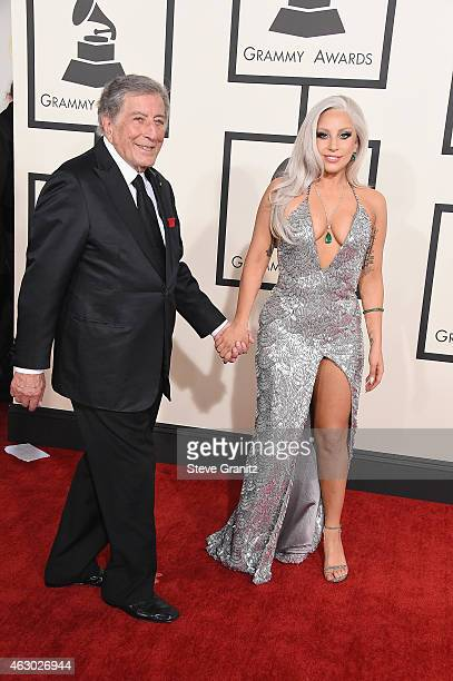 Recording artists Tony Bennett and Lady Gaga attend The 57th Annual GRAMMY Awards at the STAPLES Center on February 8 2015 in Los Angeles California