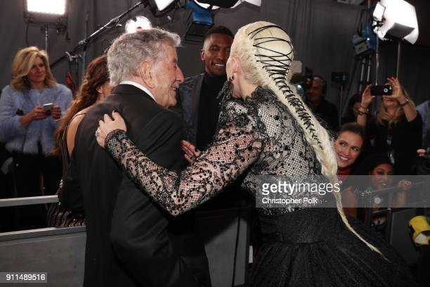 Recording artists Tony Bennett and Lady Gaga attend the 60th Annual GRAMMY Awards at Madison Square Garden on January 28 2018 in New York City