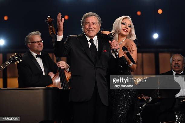 Recording Artists Tony Bennett and Lady Gaga perform onstage during The 57th Annual GRAMMY Awards at the STAPLES Center on February 8 2015 in Los...