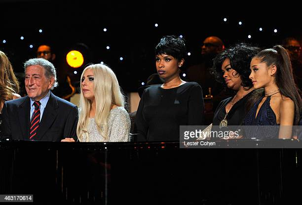 Recording artists Tony Bennett Lady Gaga Jennifer Hudson Jill Scott and Ariana Grande perform onstage during Stevie Wonder Songs In The Key Of Life...