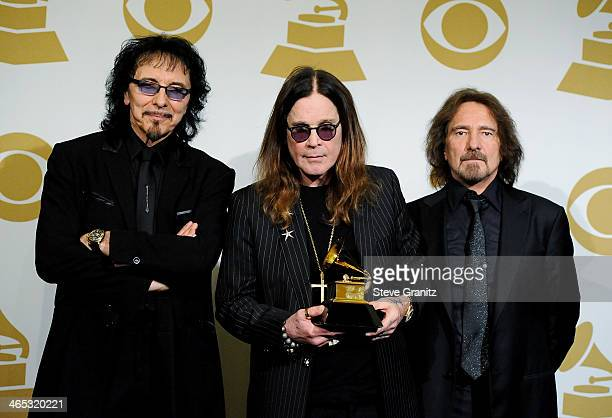 Recording artists Tony Iommi Ozzy Osbourne and Geezer Butler of Black Sabbath pose in the press room during th 56th GRAMMY Awards at Staples Center...