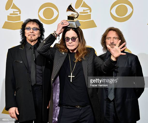 Recording artists Tony Iommi Ozzy Osbourne and Geezer Butler of Black Sabbath pose in the press room during the 56th GRAMMY Awards at Staples Center...
