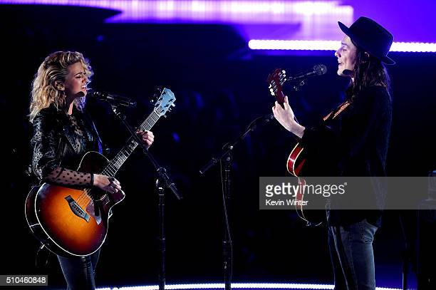 Recording artists Tori Kelly and James Bay perform onstage during The 58th GRAMMY Awards at Staples Center on February 15 2016 in Los Angeles...