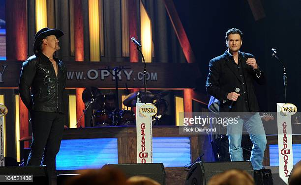Recording Artists Trace Adkins and Blake Shelton perform during Country Comes Home An Opry Celebration at the Grand Ole Opry House on September 28...