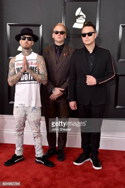 Recording artists Travis Barker Matt Skiba and Mark Hoppus of music group blink182 attend The 59th GRAMMY Awards at STAPLES Center on February 12...