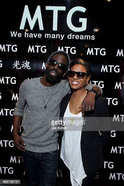 Recording artists Tye Tribbett and MC Lyte attend the GRAMMY Gift Lounge during the 56th Grammy Awards at Staples Center on January 25 2014 in Los...