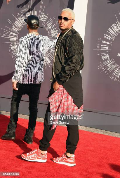 Recording artists Tyga and Chris Brown attend the 2014 MTV Video Music Awards at The Forum on August 24 2014 in Inglewood California