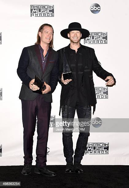 Recording artists Tyler Hubbard and Brian Kelley of Florida Georgia Line winners of Favorite Country Duo/Group pose in the press room during the 2015...