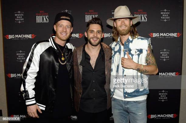 Recording artists Tyler Hubbard of Florida Georgia Line Thomas Rhett and Brian Kelley of Florida Georgia Line attend the 52nd Annual ACM Awards...
