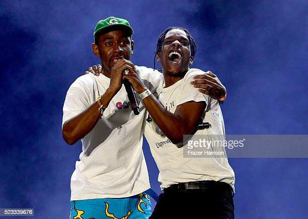 Recording artists Tyler The Creator and ASAP Rocky perform onstage during day 1 of the 2016 Coachella Valley Music Arts Festival Weekend 2 at the...