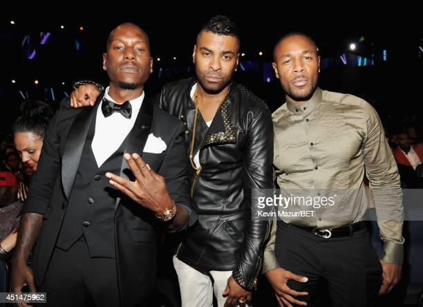 Recording artists Tyrese Gibson Ginuwine and Tank attend the BET AWARDS '14 at Nokia Theatre LA LIVE on June 29 2014 in Los Angeles California