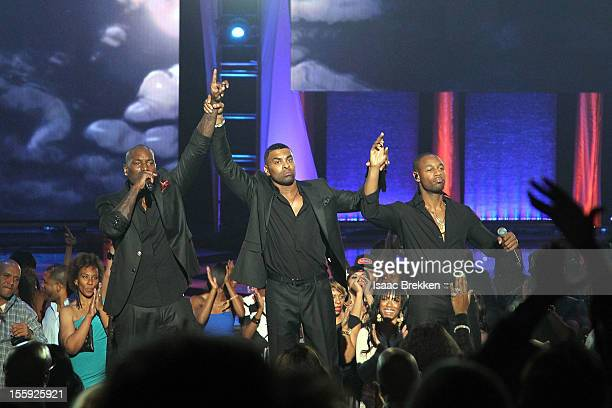 Recording artists Tyrese Ginuwine and Tank of TGT perform during the Soul Train Awards 2012 at PH Live at Planet Hollywood Resort Casino on November...