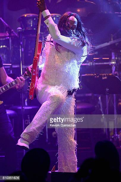 Recording artists Verdine White of music group Earth Wind Fire performs onstage during the 2016 PreGRAMMY Gala and Salute to Industry Icons honoring...
