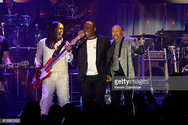 Recording artists Verdine White Philip Bailey and Ralph Johnson of music group Earth Wind Fire perform onstage during the 2016 PreGRAMMY Gala and...