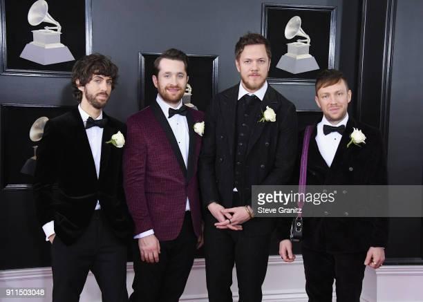 Recording artists Wayne Sermon Daniel Platzman Dan Reynolds and Ben McKee of music group Imagine Dragons attend the 60th Annual GRAMMY Awards at...