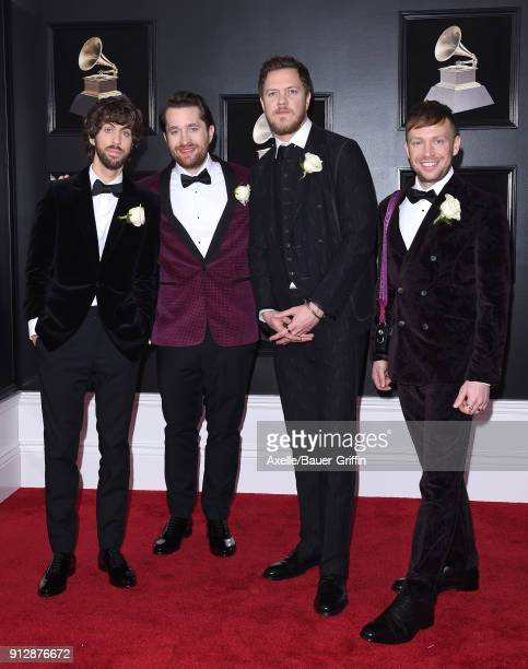 Recording artists Wayne Sermon Daniel Platzman Dan Reynolds and Ben McKee of music group Imagine Dragons attend the 60th Annual GRAMMY Awards at...