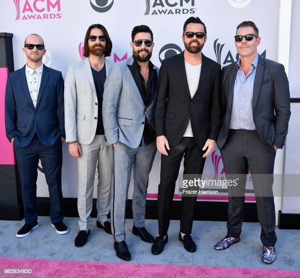 Recording artists Whit Sellers Geoff Sprung Matthew Ramsey Brad Tursi and Trevor Rosen of music group Old Dominion attend the 52nd Academy Of Country...