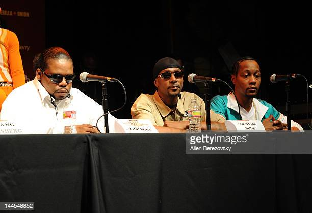 Recording artists Wi$h Bone and Krayzie Bone of Bone ThugsNHarmony and DJ Quik attend the Rock The Bells press conference launch party at the House...