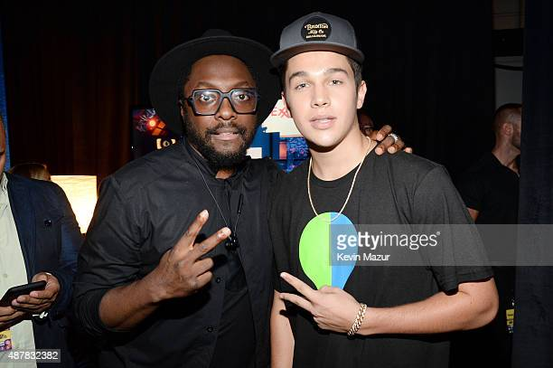 Recording artists william and Austin Mahone attend the Think It Up education initiative telecast for teachers and students hosted by Entertainment...