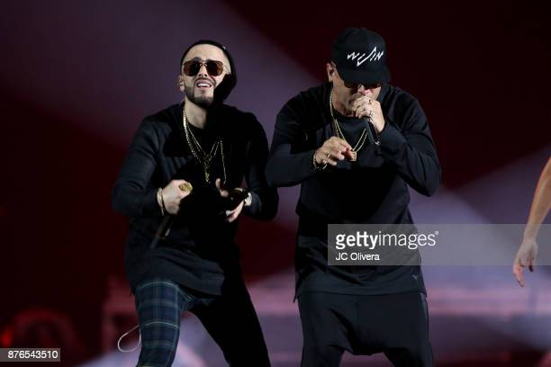 Recording artists Wisin and Yandel perform onstage during Uforia's 'KLove Live' at The Forum on November 19 2017 in Inglewood California