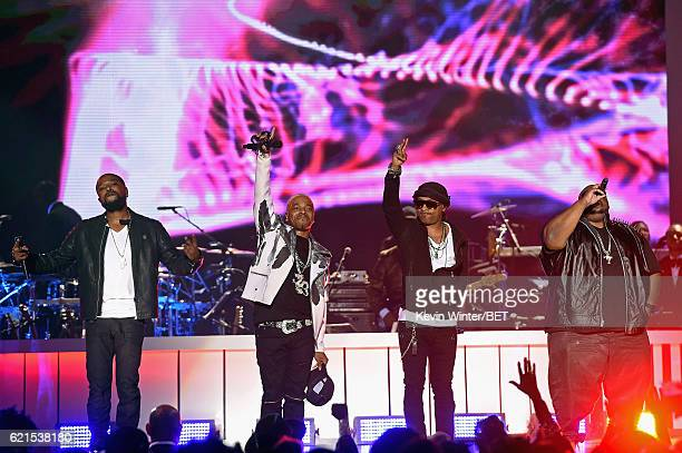 Recording artists Woody Rock Sisqo Nokio the NTity and Larry 'Jazz' Anthony of Dru Hill perform onstage during the 2016 Soul Train Music Awards on...