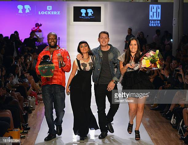Recording artists Wyclef Jean Jarina De Marco Cris Cab and designer Stacy Igel walk the runway at Boy Meets Girl By Stacy Igel Lockerz Spring 2013...