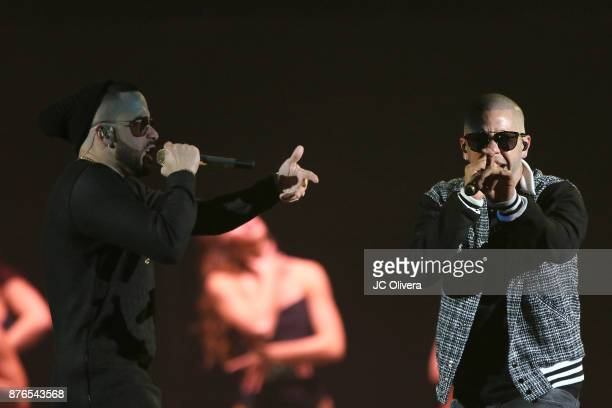 Recording artists Yandel and Gadiel Veguilla perform onstage during Uforia's 'KLove Live' at The Forum on November 19 2017 in Inglewood California