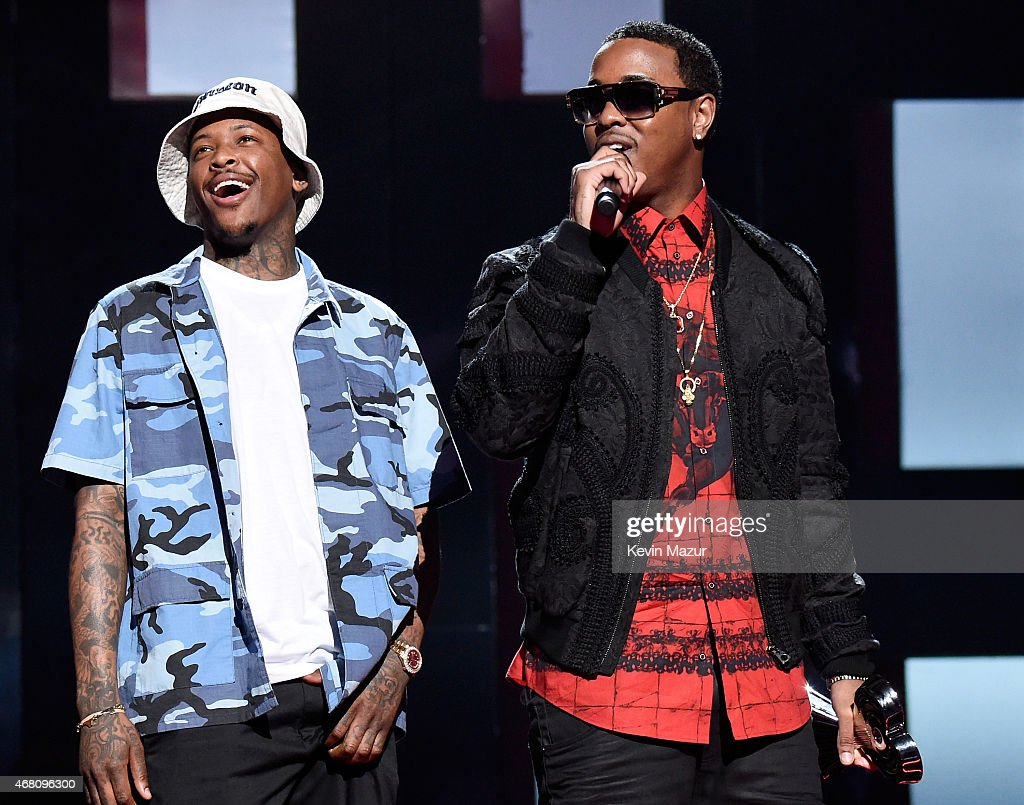 Recording artists YG (L) and Jeremih accept the Hip Hop/R&B Song of the Year award for 'Don't Tell 'Em' onstage during the 2015 iHeartRadio Music Awards which broadcasted live on NBC from The Shrine Auditorium on March 29, 2015 in Los Angeles, California.
