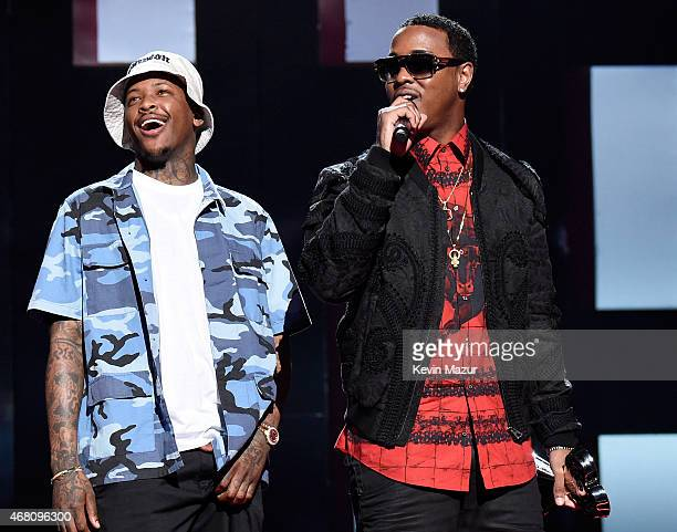 Recording artists YG and Jeremih accept the Hip Hop/RB Song of the Year award for 'Don't Tell 'Em' onstage during the 2015 iHeartRadio Music Awards...