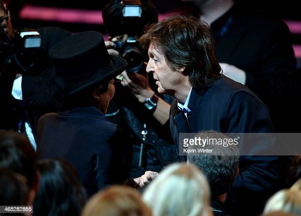 Recording artists Yoko Ono and Paul McCartney attend the 56th GRAMMY Awards at Staples Center on January 26 2014 in Los Angeles California