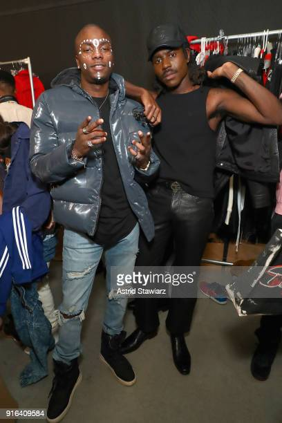 Recording Artists Young Paris and Dev Hynes pose backstage for Telfar during New York Fashion Week presented by Made at Gallery I at Spring Studios...