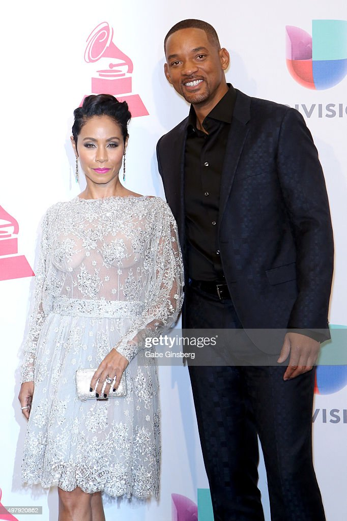 Recording artists/actors Jada Pinkett Smith (L) and Will Smith pose in the press room during the 16th Latin GRAMMY Awards at the MGM Grand Garden Arena on November 19, 2015 in Las Vegas, Nevada.