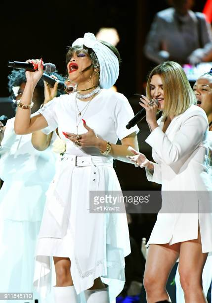 Recording artistst Andra Day and Julia Michaels perform onstage during the 60th Annual GRAMMY Awards at Madison Square Garden on January 28 2018 in...