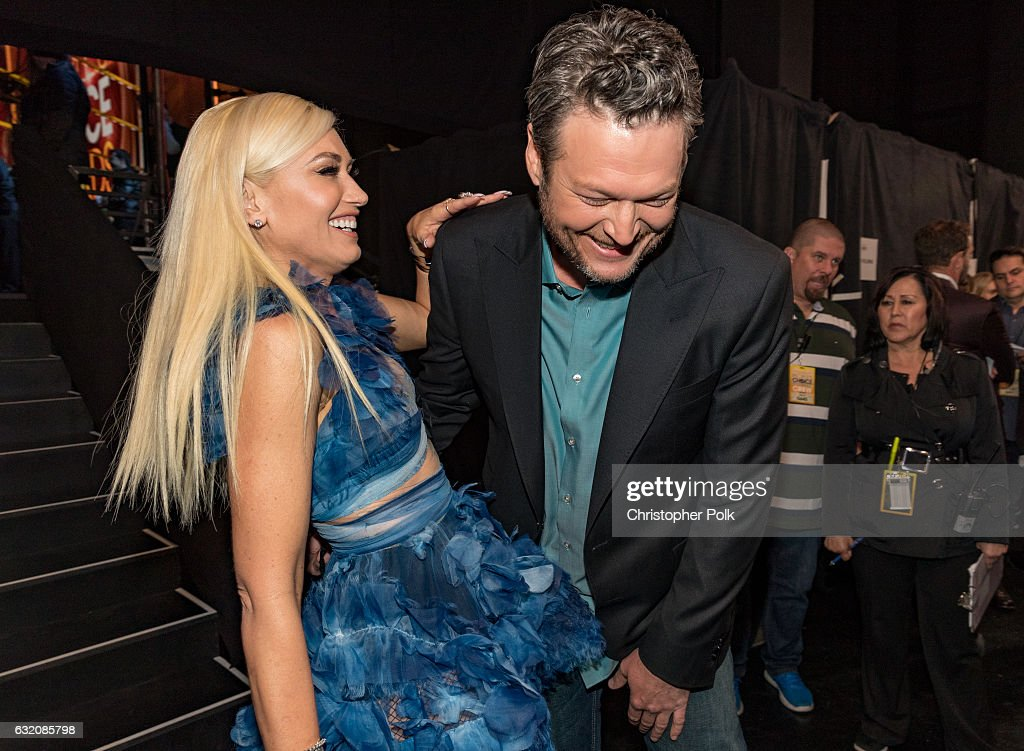 Recording artist/TV personality Gwen Stefani (L) and recording artist/TV personality Blake Shelton, winner of the Favorite Album award for 'If I'm Honest' and Favorite Male Country Artist award attend the People's Choice Awards 2017 at Microsoft Theater on January 18, 2017 in Los Angeles, California.