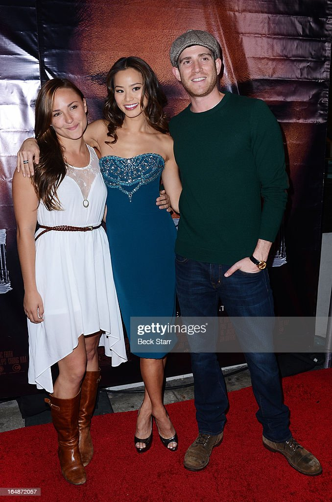 Recording artitst Cheyanne Garcia, actress Jamie Chung and actor Bryan Greenberg arrive at the Los Angeles premiere of 'Eden' at Laemmle Music Hall on March 28, 2013 in Beverly Hills, California.