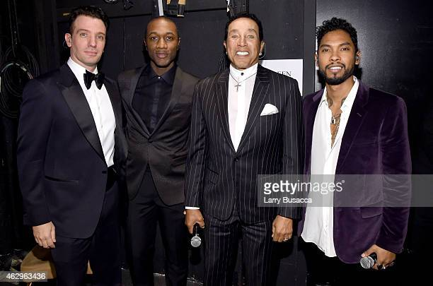 Recording artsists JC Chasez Aloe Blacc Smokey Robinson and Miguel attend the PreGRAMMY Gala and Salute To Industry Icons honoring Martin Bandier at...
