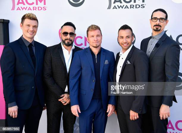 Recording artsits Nick Carter AJ McLean Brian Littrell Howie Dorough and Kevin Richardson of music group Backstreet Boys attend the 52nd Academy Of...