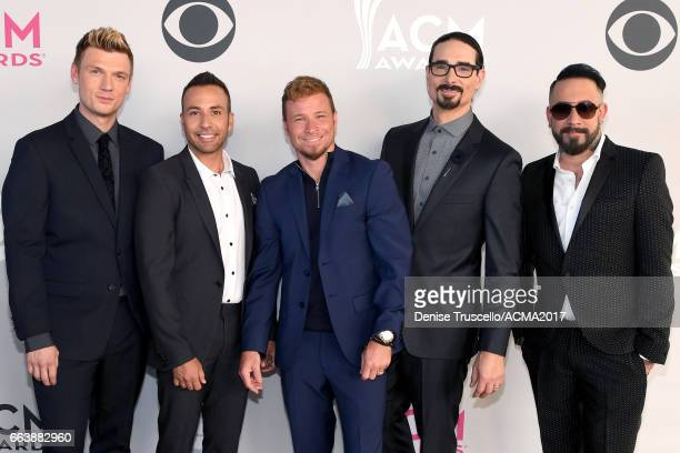 Recording artsits Nick Carter Howie Dorough Brian Littrell Kevin Richardson and AJ McLean of music group Backstreet Boys attend the 52nd Academy of...