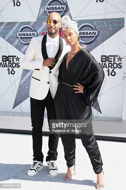 Recording artsts Swizz Beatz and Alicia Keys attend the 2016 BET Awards at the Microsoft Theater on June 26 2016 in Los Angeles California