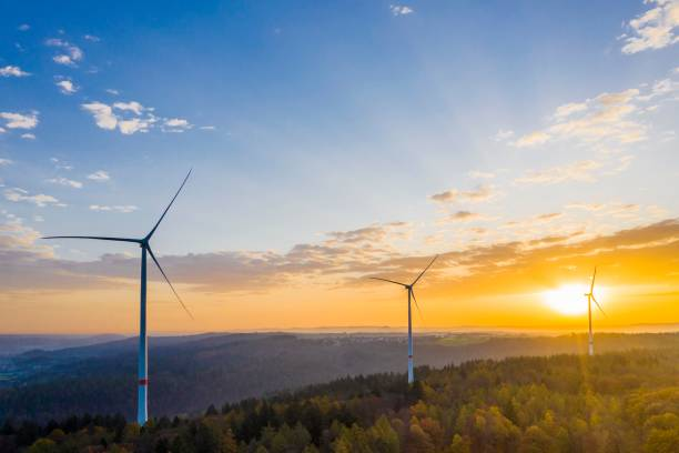 UAV recording, autumn in Rems valley, mixed forest, wind turbines, Baden-Wuerttemberg, Germany