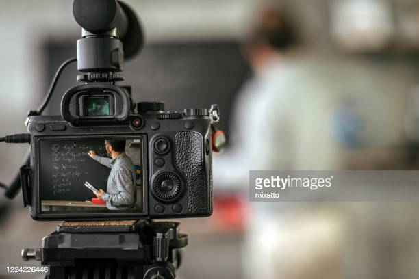 recording educational video tutorial for vlog - tutorial stock pictures, royalty-free photos & images