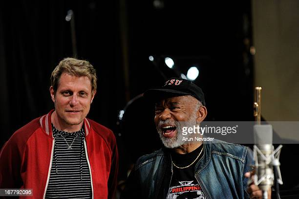 Recording engineer/guitarist Rich Mouser and flutist Hubert Laws attend the Kaylene Peoples My Man Recording Session with Hubert Laws at The Mouse...