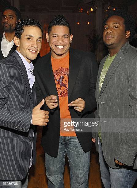 Recording group Voz A Voz members David Gio and Ammy attend BMI's 13th Annual Latin Awards at the Manhattan Pavilion on April 07 2006 in New York City