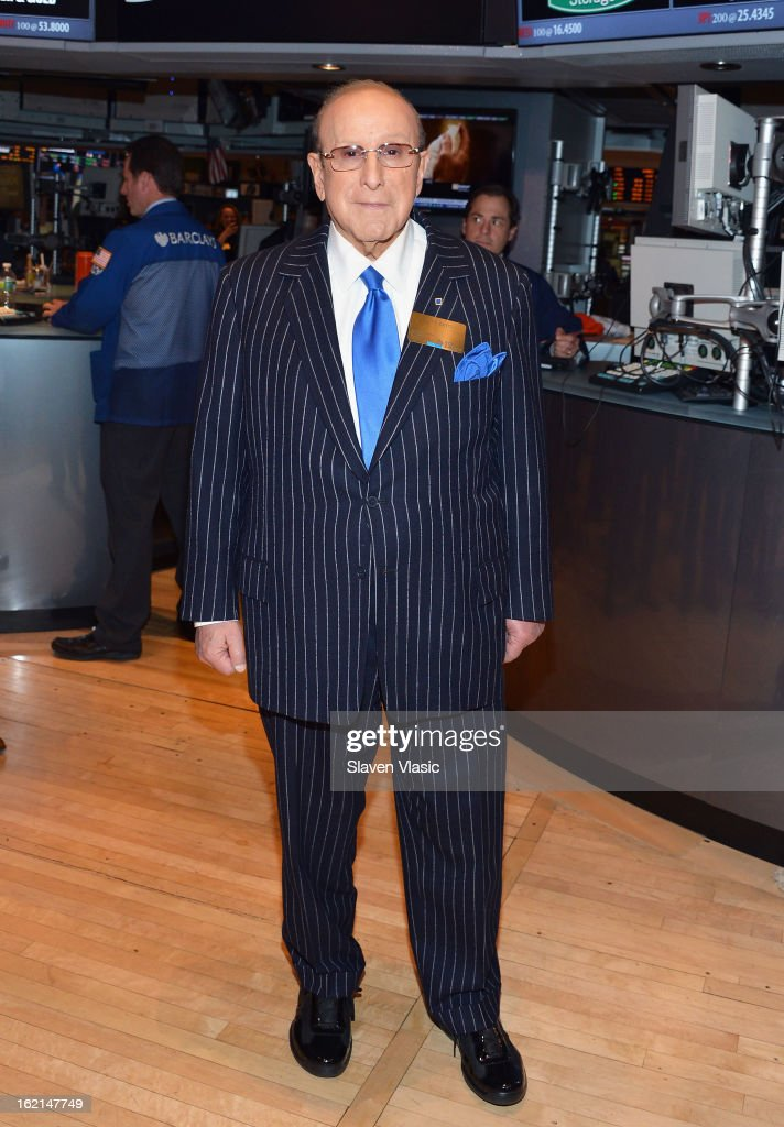 Recording industry mogul and author Clive Davis visits floor at New York Stock Exchange on February 19, 2013 in New York City.