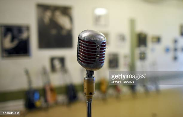 A recording microphone is pictured at the Sun Studio in Memphis Tennessee on May 28 2015 Rock and roll country music and rockabilly artists including...