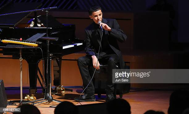 Recording musician Noah East performs during Kawasaki Jazz on November 21 2015 in Kawasaki Japan