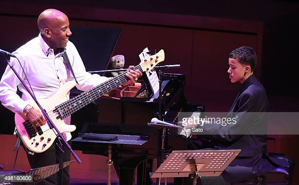 Recording musicians Noah East and Nathan East perform during Kawasaki Jazz on November 21 2015 in Kawasaki Japan