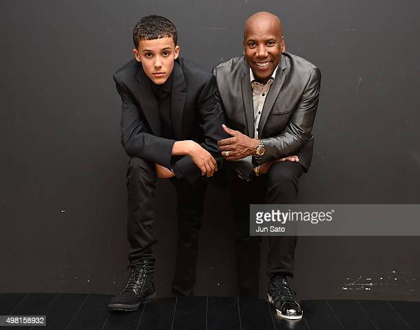 Recording musicians Noah East and Nathan East pose for a photograph during Kawasaki Jazz on November 21 2015 in Kawasaki Japan