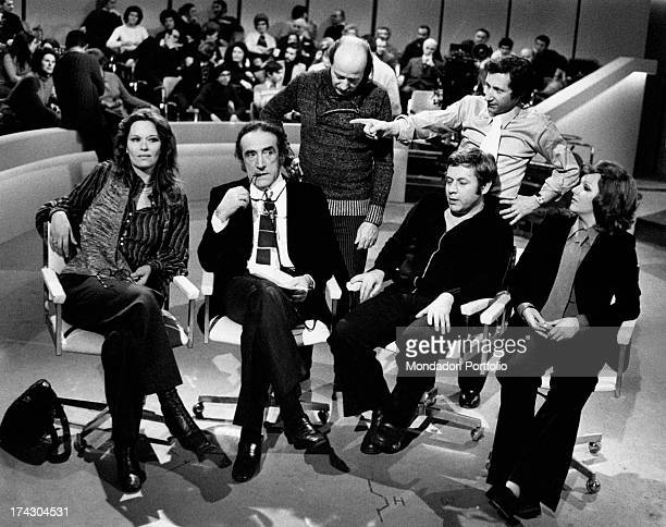 Recording of the TV show Ieri e oggi variety of Rai 2 compered by Arnoldo Foà the hosts are from left Lea Massari Paolo Villaggio and Orietta Berti...