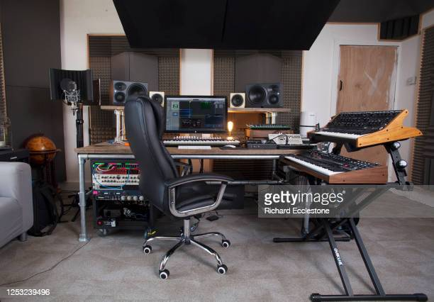 Recording studio control room and synthesizers being used by Mark Wilkinson English record producer DJ and remixer United Kingdom 2018